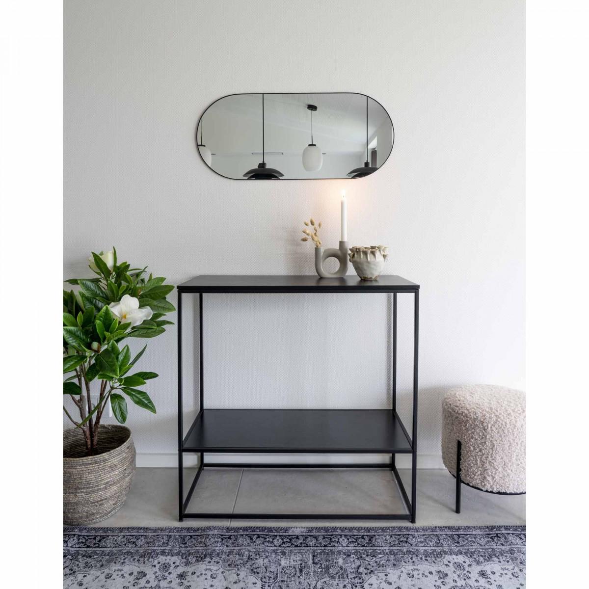 Picture of: Ovalt Spejl Med Tynd Metal Ramme